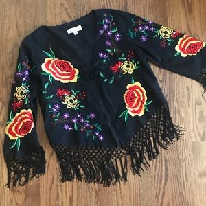 Mexican Oaxacan Style Fringe Embroidered Jacket